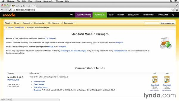 Downloading and installing Moodle: Moodle 2.6 Essential Training