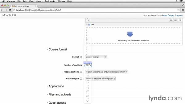 Configuring course format: Moodle 2.6 Essential Training