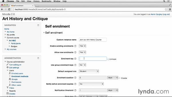 Student self-registration: Moodle 2.6 Essential Training