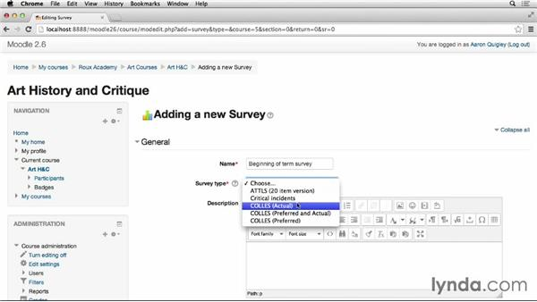 Class surveys: Moodle 2.6 Essential Training