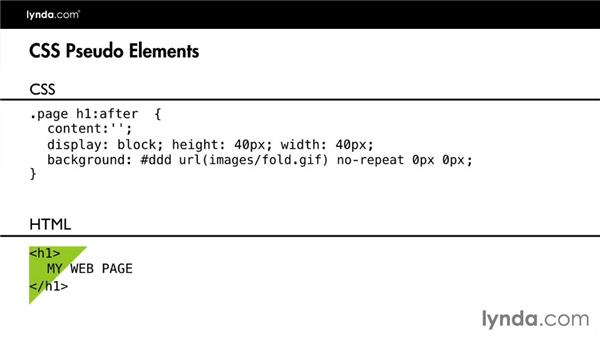 Creating a pseudo-element with CSS: Design the Web: Graphics and CSS Pseudo-Elements