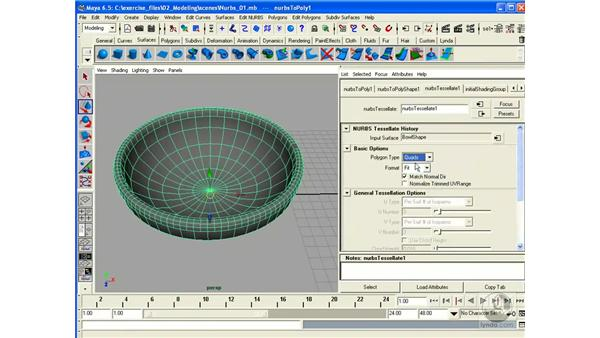 Converting Surfaces (NURBS > Poly): Maya 6.5 Essential Training