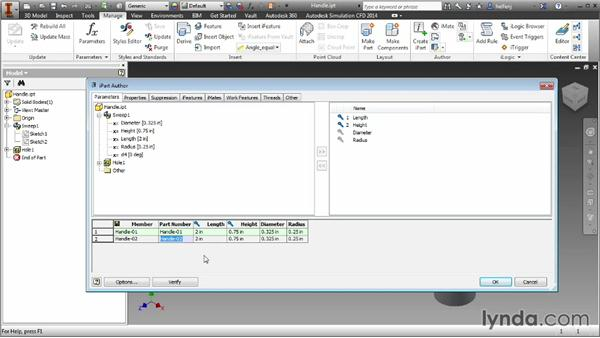Creating an iPart from an existing part: Inventor 2014 Essential Training