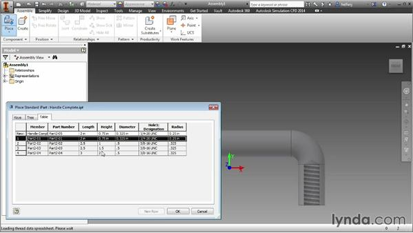 Changing between versions inside an iPart: Inventor 2014 Essential Training