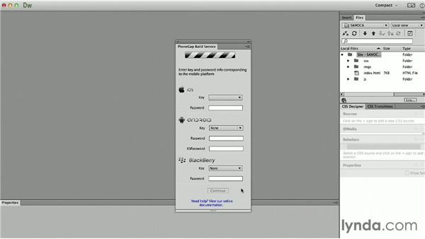 Building from Dreamweaver CC: Up and Running with PhoneGap Build