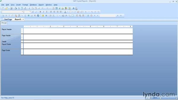 Exploring the Crystal Reports user interface: Crystal Reports 2013 Essential Training