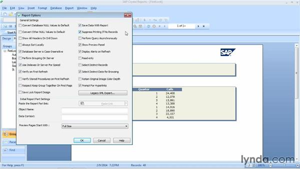 Setting report options: Crystal Reports 2013 Essential Training