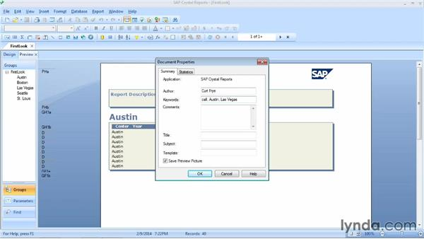 Assigning report properties: Crystal Reports 2013 Essential Training