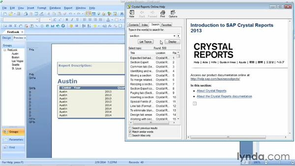 Getting help in Crystal Reports 2013: Crystal Reports 2013 Essential Training