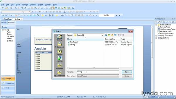 Saving a report: Crystal Reports 2013 Essential Training