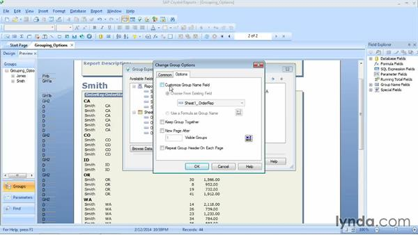 Changing group options: Crystal Reports 2013 Essential Training