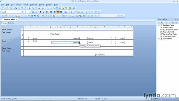 Resizing, aligning, and reordering objects: Crystal Reports 2013 Essential Training