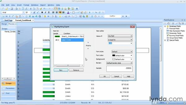 Highlighting records: Crystal Reports 2013 Essential Training