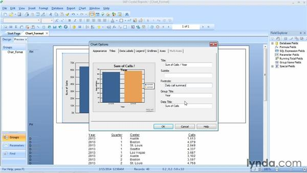 Formatting chart elements: Crystal Reports 2013 Essential Training