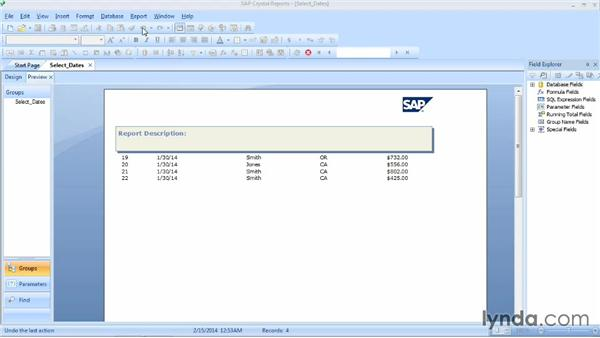 Selecting records based on dates: Crystal Reports 2013 Essential Training