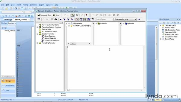 Selecting records using formulas: Crystal Reports 2013 Essential Training
