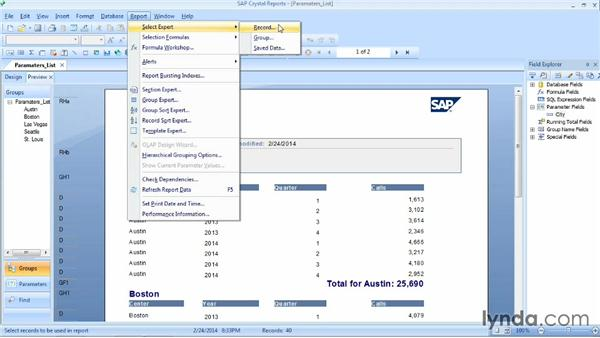 Creating a parameter field by entering a list of values: Crystal Reports 2013 Essential Training