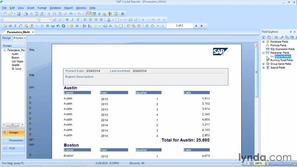 Defining multivalue parameter fields: Crystal Reports 2013 Essential Training