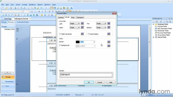 Formatting subreports: Crystal Reports 2013 Essential Training