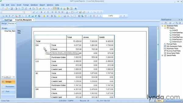Manipulating a cross-tab: Crystal Reports 2013 Essential Training