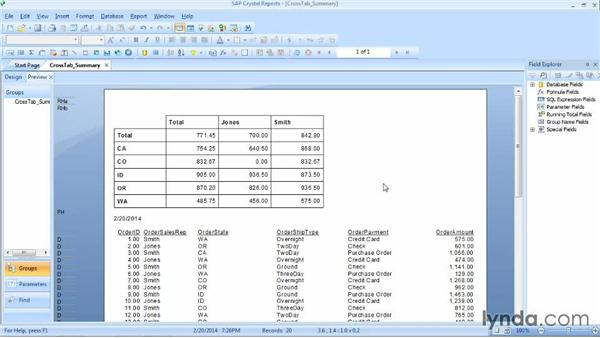 Changing cross-tab summary operations: Crystal Reports 2013 Essential Training