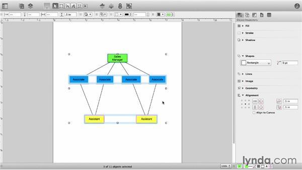 Combine shapes into groups: OmniGraffle 6 Essential Training
