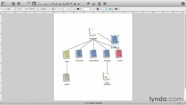 Add connected shapes with the Diagram tool: OmniGraffle 6 Essential Training