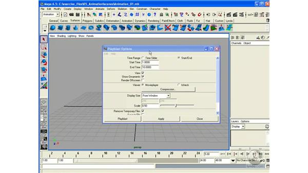 Playblast and Playback: Maya 6.5 Essential Training
