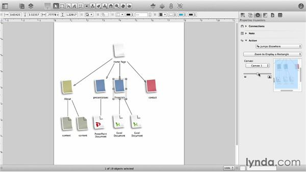 Add interactivity with the Action inspector: OmniGraffle 6 Essential Training