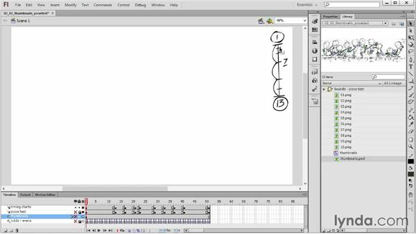 Creating rough keys and pose tests: Hand-Drawn Animation in Flash