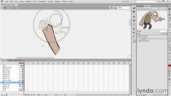 Breaking a frame into a rig: Hand-Drawn Animation in Flash