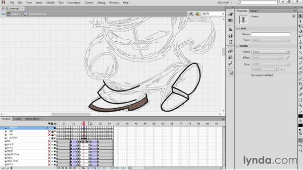 Creating the tie-downs using the hybrid method: Hand-Drawn Animation in Flash
