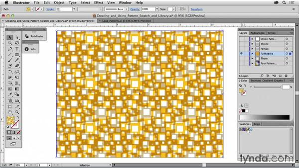 Creating and using pattern swatches and libraries: Drawing Vector Graphics: Patterns