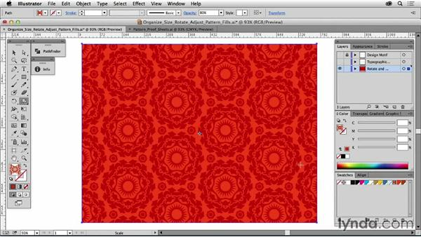 Organize, size, rotate, and adjust your pattern fills: Drawing Vector Graphics: Patterns