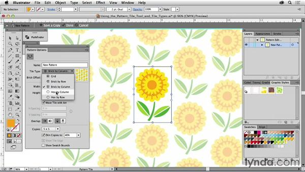 Using the Pattern Tile tool and tile types: Drawing Vector Graphics: Patterns