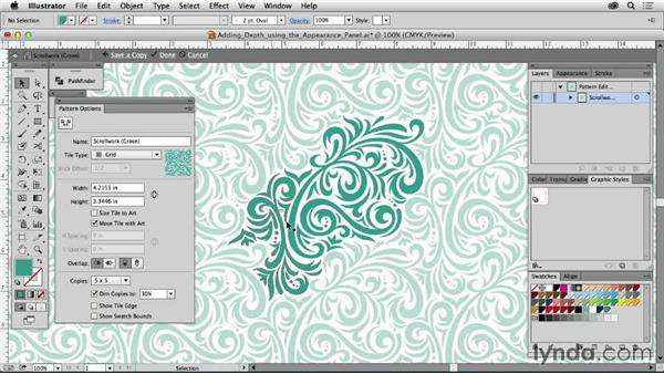 Adding depth using the Appearance panel: Drawing Vector Graphics: Patterns