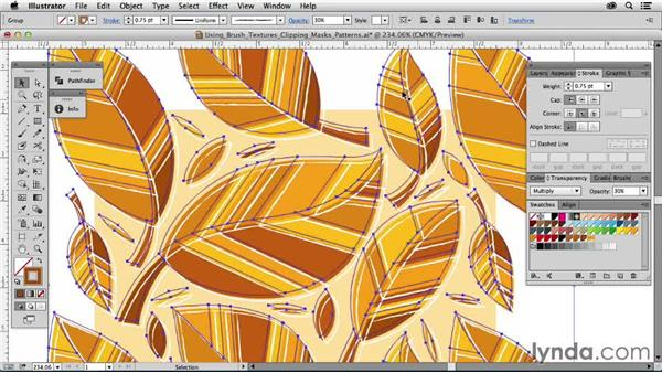 Using brush textures and clipping masks with patterns: Drawing Vector Graphics: Patterns