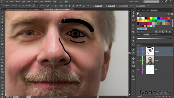 Tracing features with the Pen tool: Designing Your Own Online Avatar