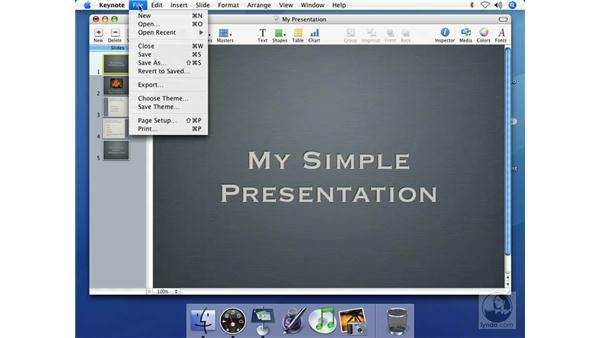 Saving presentations: Keynote 2 Essential Training