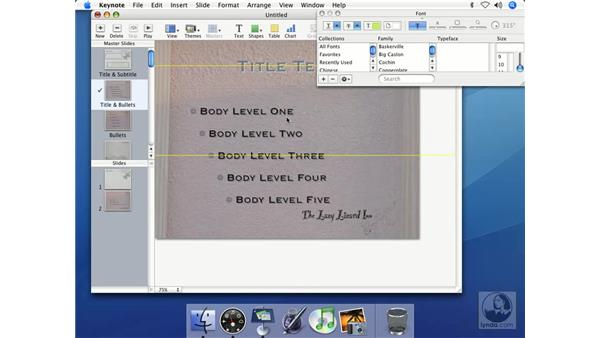 The text and font palettes: Keynote 2 Essential Training