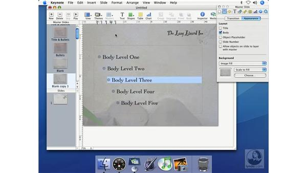 Indenting bulleted text: Keynote 2 Essential Training