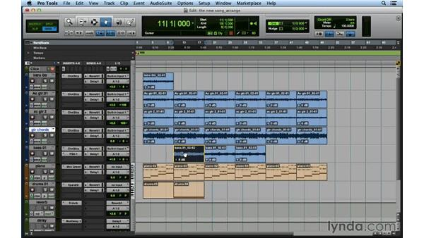Creating additional instrumentation and arranging the song: Songwriting in Pro Tools
