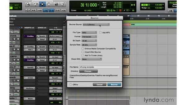 Bouncing and sharing the song: Songwriting in Pro Tools