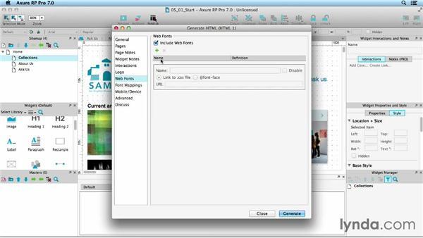 Setting up web fonts: UX Design Tools: Axure