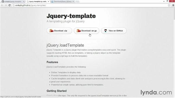 Getting and using jQuery Template: JavaScript Templating