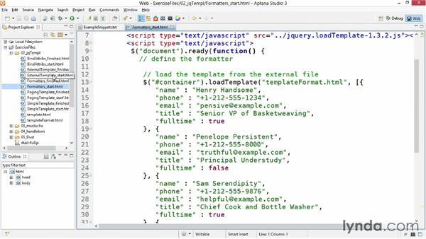 Using formatters: JavaScript Templating