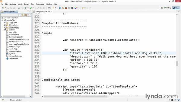 Simple Handlebars templates: JavaScript Templating