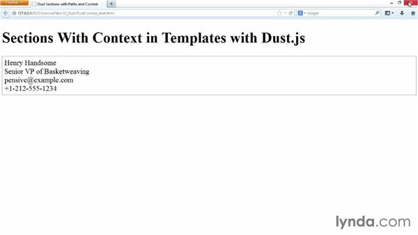 Sections with paths and context: JavaScript Templating