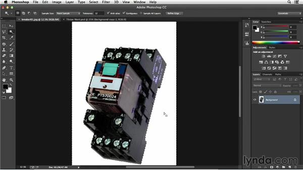 Making an initial selection with selection tools: Processing Product Photos with Photoshop