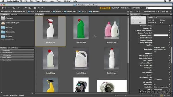 Adding metadata using templates in Adobe Bridge: Processing Product Photos with Photoshop